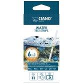 Ciano vandens parametrų testas juostelėmis – 6 parametrai pH, GH, Cl2, KH, nitratai, nitritai. Rezultatas per 1 min. 50 vnt.